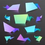 Комплект изолированных пузырей origami вектора красочных иллюстрация вектора