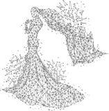 Origami abstrait de ligne et de point de mâche de jeune mariée sur le fond blanc avec une inscription Ciel étoilé ou espace, se c Photo stock