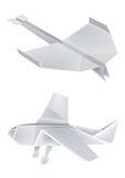 Origami_aeroplanes. Illustration of folded paper models, aeroplanes on white background, Vector illustration Stock Photo