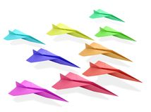 Origami airplane. From recicled paper Royalty Free Stock Photo