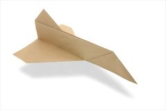 Origami airplane space shuttle. From recycled paper Royalty Free Stock Photography