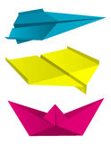 Origami airplanes boat print colors. Royalty Free Stock Image