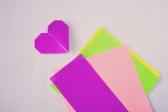 Origami al neon Fotografia Stock Libera da Diritti