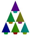 Origami, albero di Natale di carta piegato isolato su bianco Verde, con riferimento a Immagine Stock Libera da Diritti