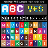 Origami alphabet, folded paper tape, font ribbon Stock Photography