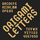 Origami alphabet font. Textured paper type letters and numbers. Royalty Free Stock Photos