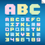Origami alphabet letters and numbers. Royalty Free Stock Photos