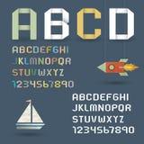 Origami Alphabet mit Zahlen in der Retro- Art lizenzfreie abbildung