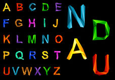Origami alphabet set Stock Photo