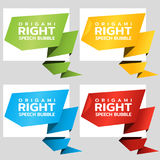 Origami angle paper banners like speech bubble. Price tag template for catalog. Color stickers. Vector Stock Image