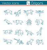 Origami animal, icônes de vecteur Photos libres de droits