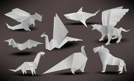Origami animals (black & white) Royalty Free Stock Photos
