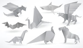 Origami animals (black & white) Royalty Free Stock Images