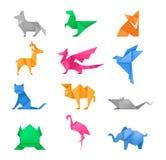 Origami animals different paper toys set vector. Origami animals different paper toys set of frog, bird, camel, mouse, cat, deer, fox, dragon, elephant, dinosaur royalty free illustration
