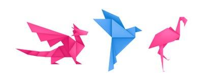 Origami animals different paper toys set vector. Origami animals different paper toys set of dragon, bird, flamingo cartoon geometric game toys origami wildlife vector illustration