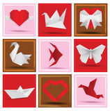 Origami animals & love symbols Stock Photography
