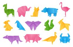 Origami animals. Paper toys, dragon ship elephant crane butterfly shape set, vector colored folding paper animals royalty free illustration
