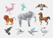 Origami animals. Vector 3d paper japanese animal set. Elephant and horse, lion dove Stock Image