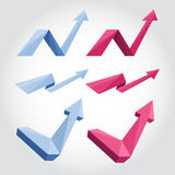 Origami arrows. Blue and pink 3d flat paper origami arrows Stock Photo