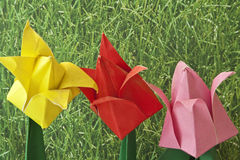 Origami Art Flowers Stock Photo