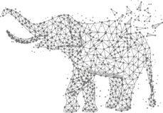 Origami astratti della linea e del punto della poltiglia dell'elefante su fondo bianco con un'iscrizione Cielo stellato o spazio, Fotografia Stock