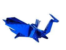 Origami błękitny smok odizolowywający na bielu Fotografia Royalty Free