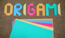 Origami background. Japanese art of paper folding. Japanese origami stock photo