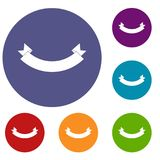Origami banner icons set. In flat circle reb, blue and green color for web Royalty Free Stock Image