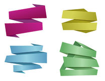 Origami banner ribbons. Color asymmetric origami banner ribbons. Elements for your design  illustration Royalty Free Stock Photography