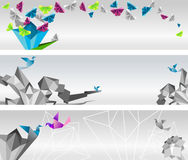 Origami banners. Origami  abstract banners. Paper butterflies and birds Royalty Free Stock Photos