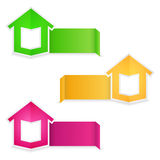 Origami banners with a house Royalty Free Stock Photo