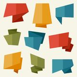 Origami banners and speech bubbles in flat design. Style Royalty Free Stock Photo