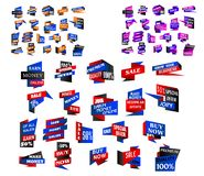 Origami banners, stickers and labels Stock Photo