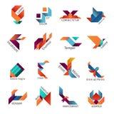 Origami bedrijfsembleemmalplaatjes Stock Afbeeldingen
