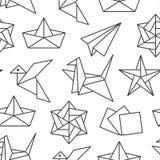 Origami bezszwowy wz?r z mieszkanie linii ikonami Papierowi ?urawie, ptak, ??d?, p?askiego wektoru ilustracje monochrom royalty ilustracja