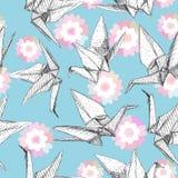 Origami białego papieru żurawie ustawiający kreślą bezszwowego wzór szarości kreskowej natury orientalny tło z japończykiem Sakur ilustracja wektor