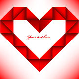 Origami big red heart Stock Image