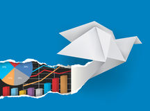 Origami bird with charts. Stock Images