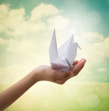 Origami bird on children's hand Stock Images