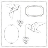 Origami. Bird and diamond origami symbolic vector stock photos