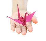 Origami bird on the hand. Stock Photos