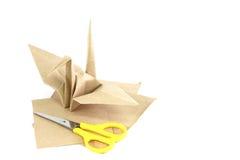 Origami Bird made of bag Paper. Origami Bird made from bag Paper royalty free stock photos