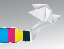 Origami bird with print colors Royalty Free Stock Image