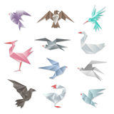 Origami bird set. Vector 3d abstract paper flying birds with wings  on white background Royalty Free Stock Photo