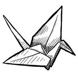 Origami bird sketch. Doodle style tsuru origami crane or bird illustration in vector format suitable for web, print, or advertising use Royalty Free Stock Photography
