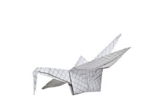 An origami bird on a white background Stock Images