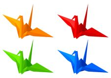 Origami Birds. Illustration of origami birds isolated on white background Stock Images
