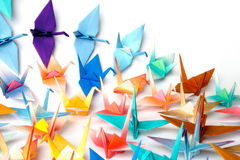 Origami birds. A group of origami birds stock image