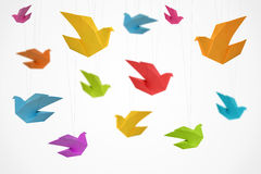 Origami Birds Background Stock Photo
