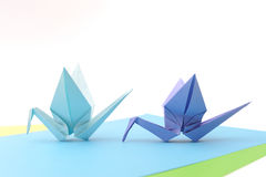 Origami birds. Child paper articles. Stock Photography
